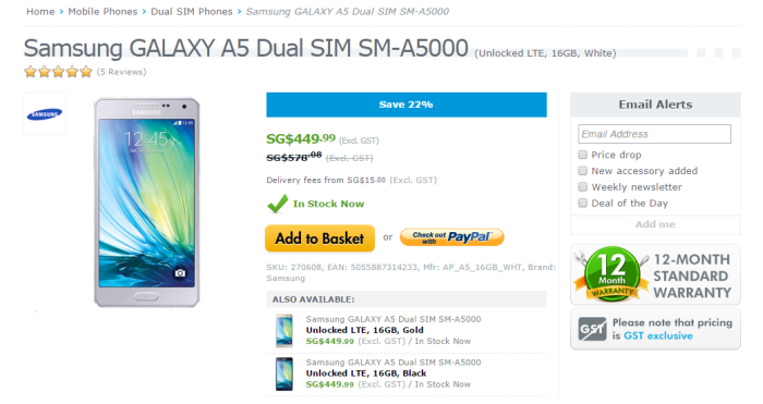 Samsung Galaxy A5 Dual at Expansys