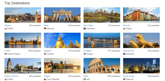 browse travel destinations at Agoda