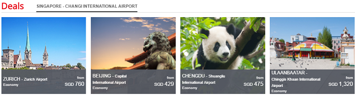 Deals on Air China's website
