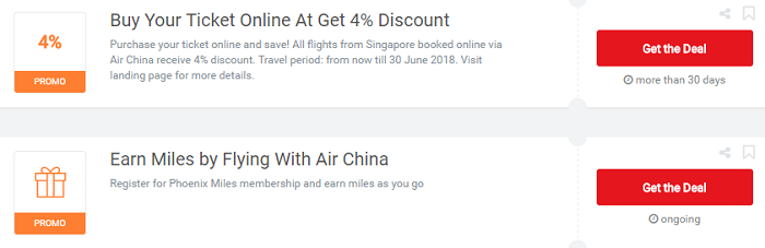 Vouchers for Air China