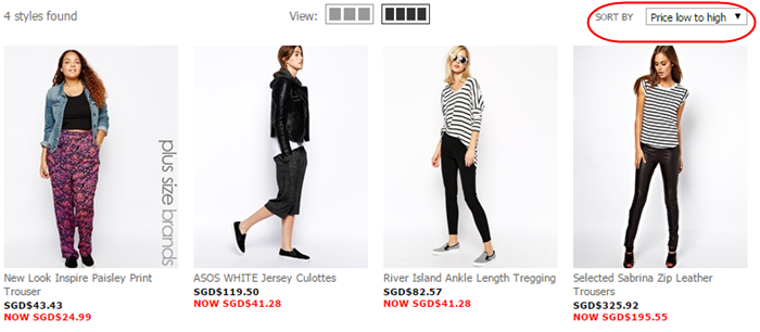 compare prices at ASOS Singapore