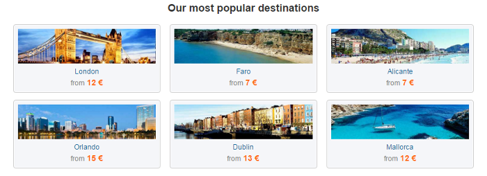 Bravofly's most popular destinations