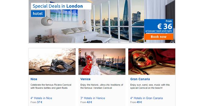 special deals in various destinations