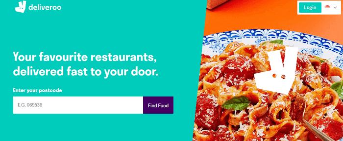 Deliveroo's website