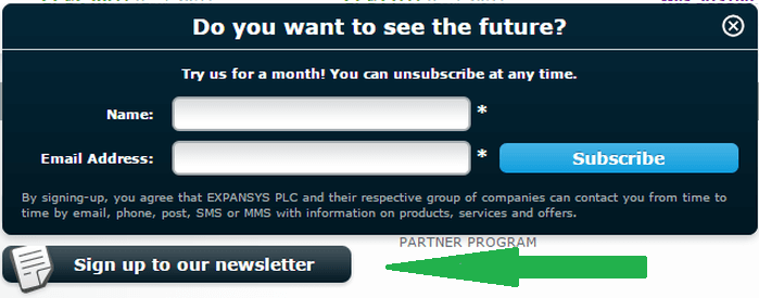 sign up for Expansys newsletter