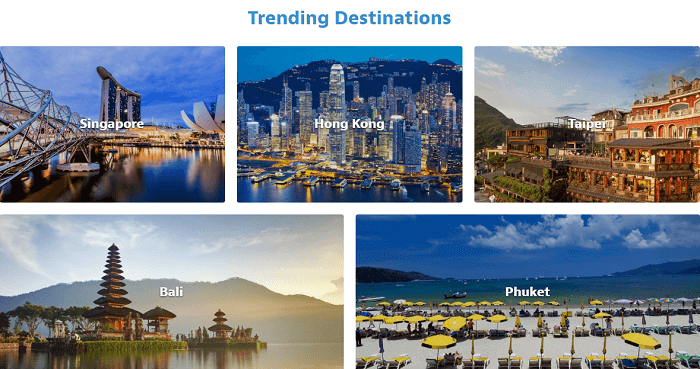 Top destinations at HomeAway