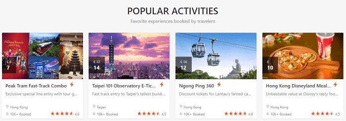 Popular experiences