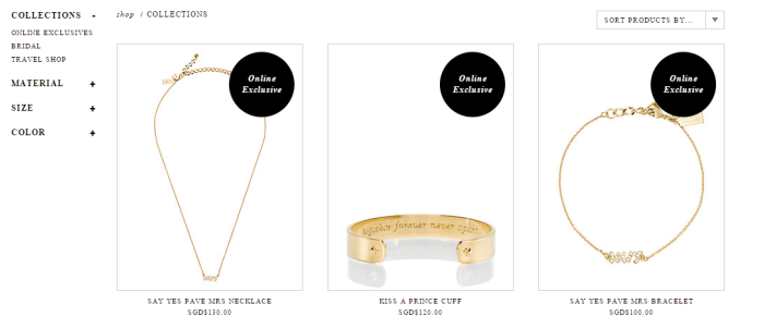 Kate Spade's online exclusive jewellery