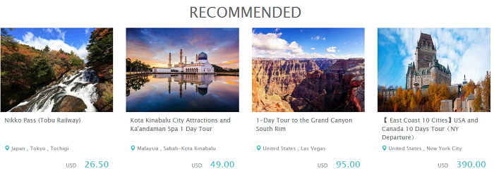 KKday popular destinations