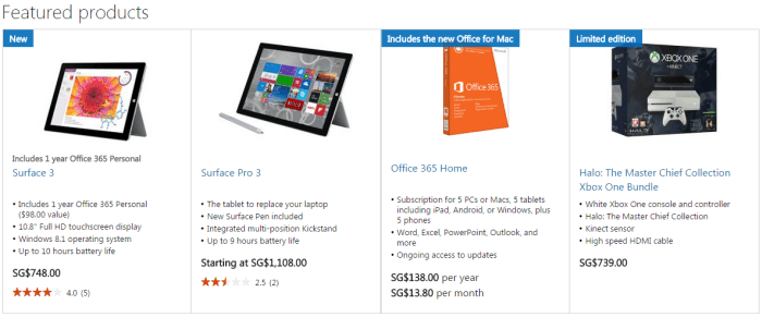 Microsoft Store's featured products