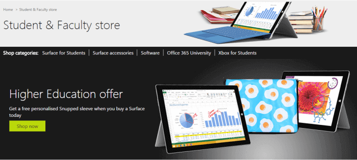 Offers for students at Microsoft Store