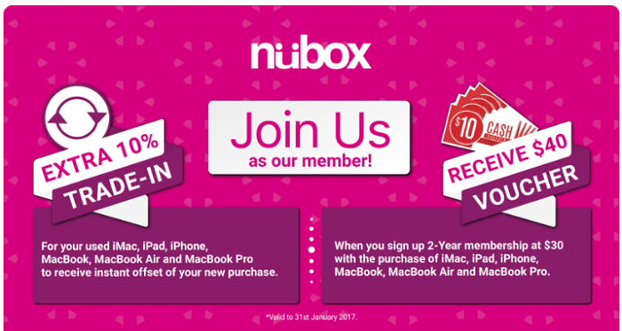 Promotions available at Nubox website