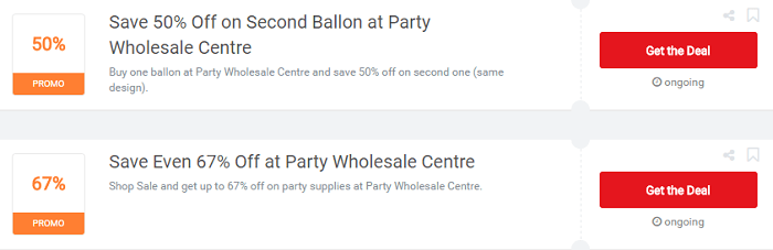 Party Wholesale Centre vouchers
