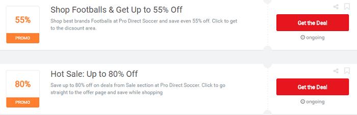 Pro Direct Soccer's vouchers and deals