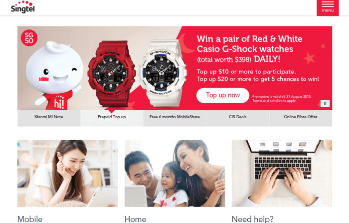 Singtel homepage