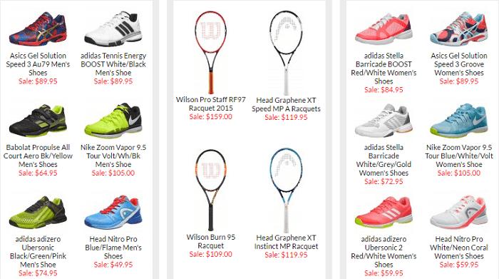 Amazing range at Tennis Warehouse