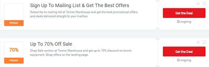Check the Tennis Warehouse's vouchers today