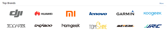 Top brands at Tomtop