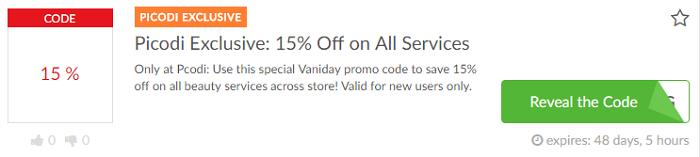 Vaniday promo codes