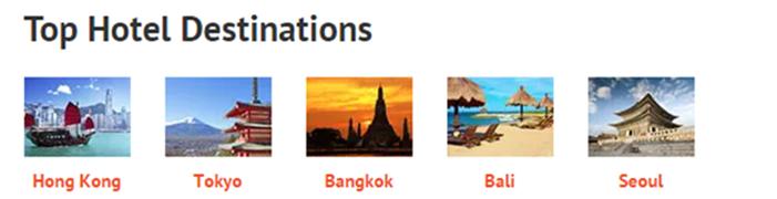 top hotel destinations at Zuji