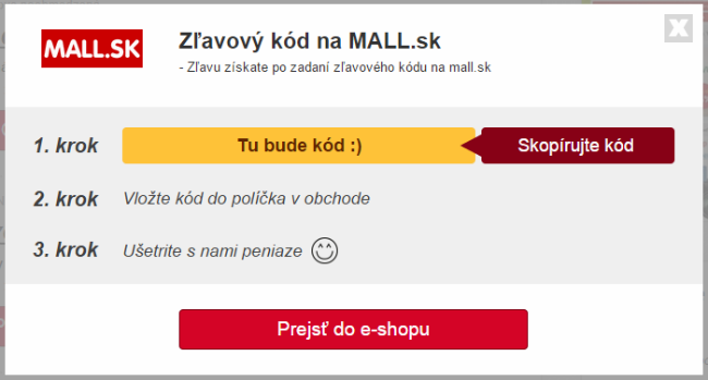 Zlavovy kupon mall 2018