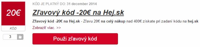 Zľavový kód hej.sk