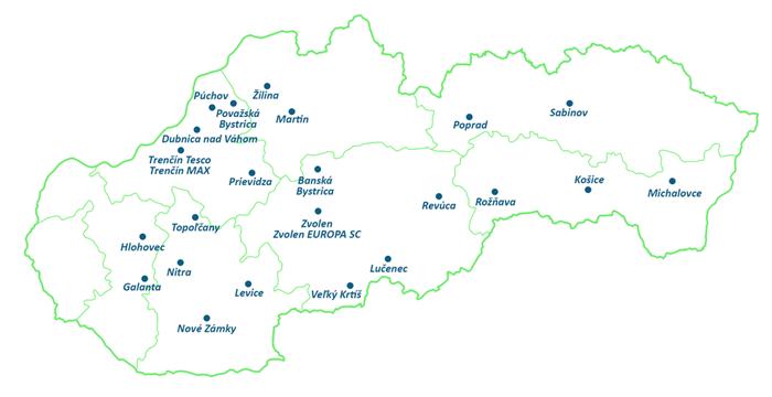 Mapa kamenných predajní Mobilonline na Slovensku