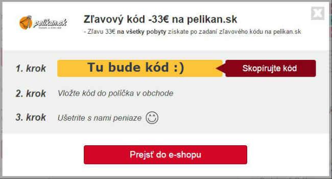 Zľavový kupón pelikan.sk