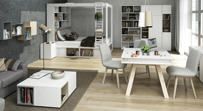 Ušetrite miesto a spojte jedáleň, obývačku a spálňu do jedného otvoreného miesta