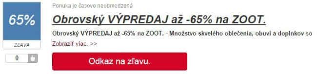 Výpredaj na ZOOT.cz