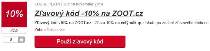 zľavový kód zoot