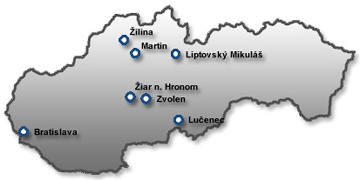 Mapa súčasných predajných miest spoločnosti TPD na Slovensku