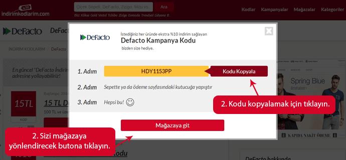 DeFacto indirim kuponları
