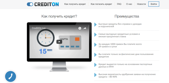 CreditOn — функционал сайта