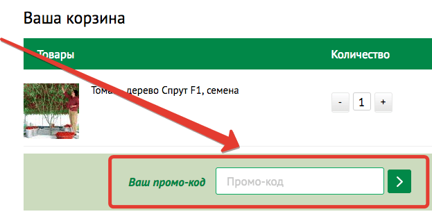 Корзина интернет-магазина «Дом и сад» — промокод