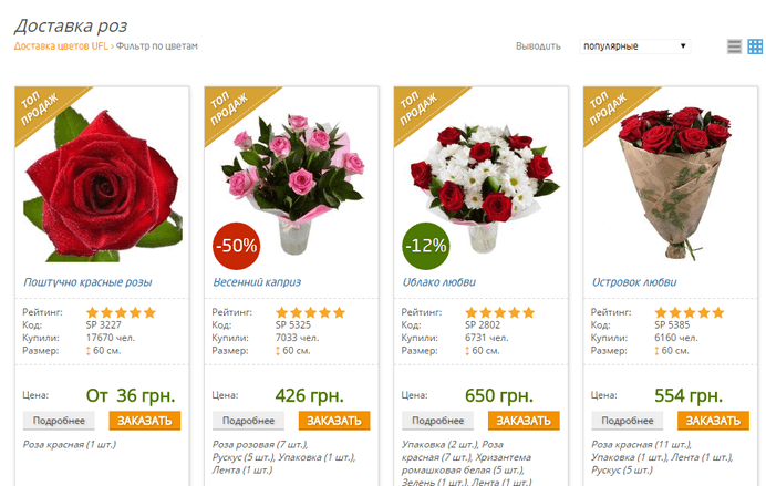 Sendflowers — каталог интернет-магазина