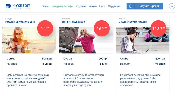 MyCredit — услуги сервиса