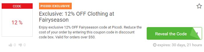 Fairyseason voucher code at Picodi