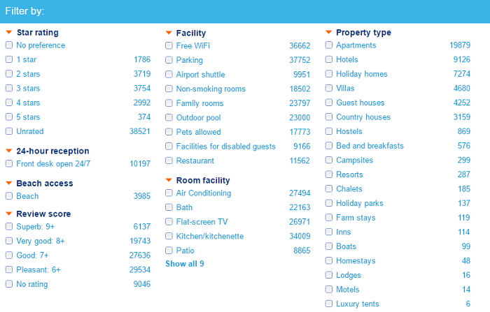 Booking.com filters