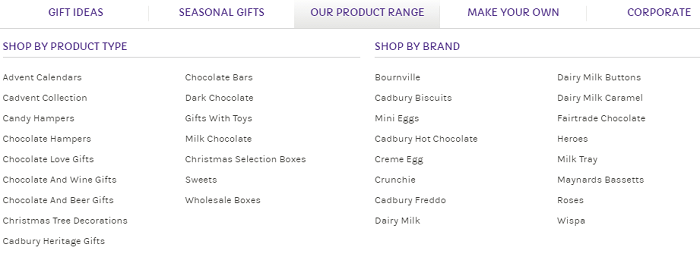 Cadbury Gifts Direct categories
