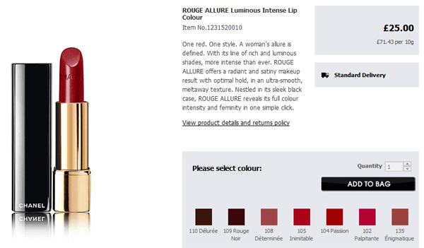 adding products to your Debenhams bag