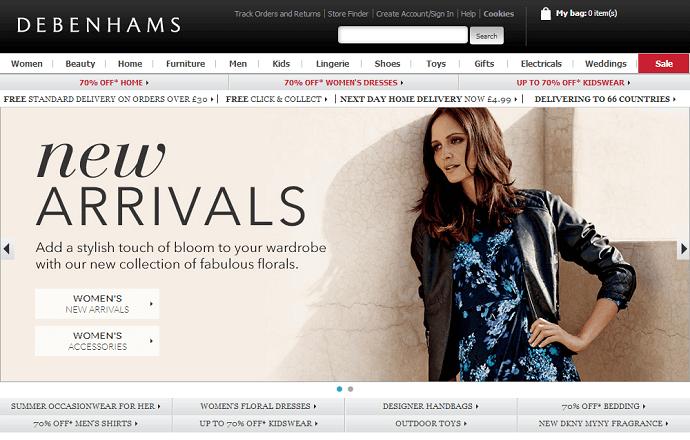 Debenhams online store