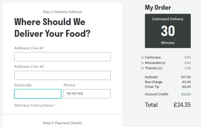 Deliveroo checkout