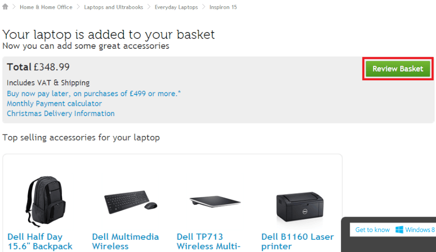 reviewing your basket