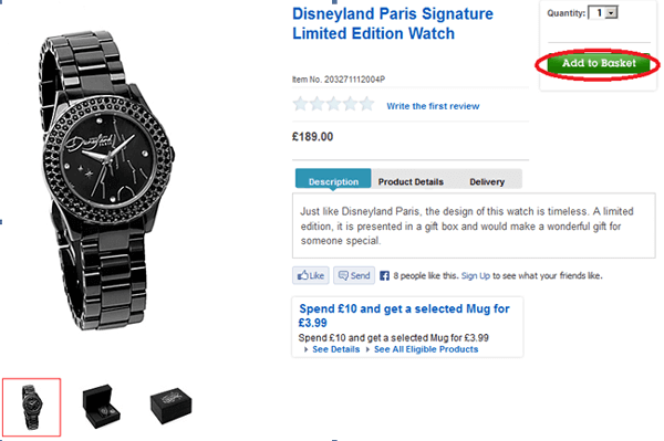 Limited Edition Watch at the Disney Store