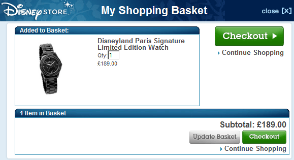 Shopping Basket at the Disney Store