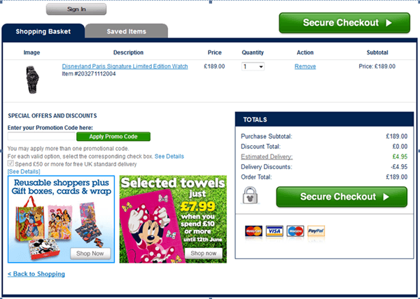 Disney Store promotion code box at checkout