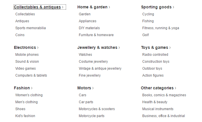 ebay categories