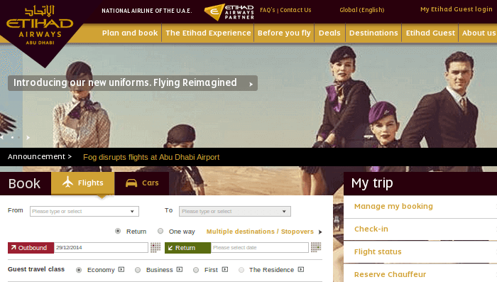 Etihad Airways website