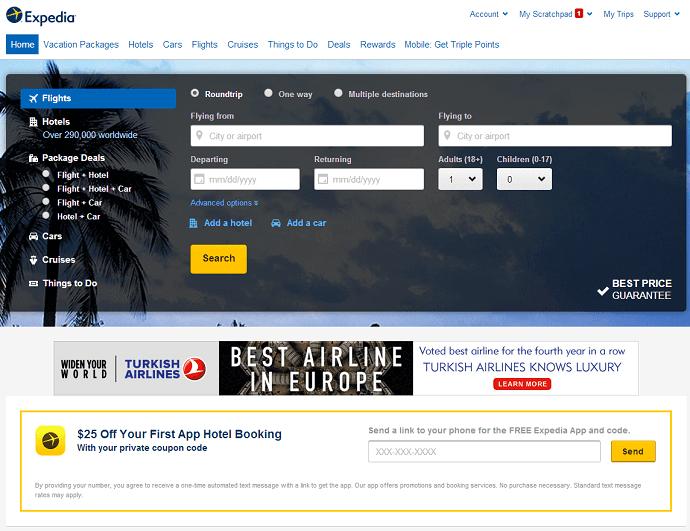 Expedia online site